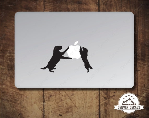 Dogs Sticker Loves the Apple Macbook Decal Mac Pro Avery Black Matte Vinyl  13 and 15 inch models