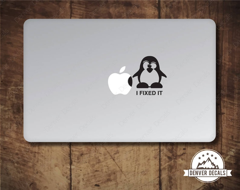 Penguin Fixes the Apple Macbook Sticker Linux Tux Mac Decal 13 image 0