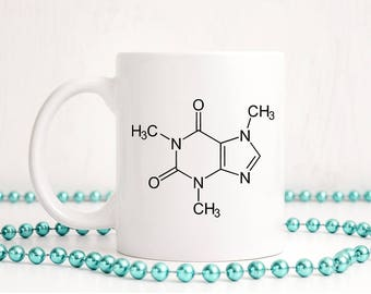 Caffeine Molecule Mug, Ceramic Coffee Mug, Coffee Cup, Coffee Lover, Caffeine Molecule, Birthday Gift, Ceramic Mug, Coffee Mug, Caffeine