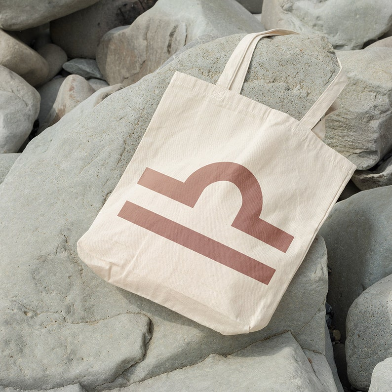 Cotton Tote Bag Tote Shopper Astrology Symbol Market Tote Bag Libra Zodiac Tote Shopping Bag Ethical Tote Bag