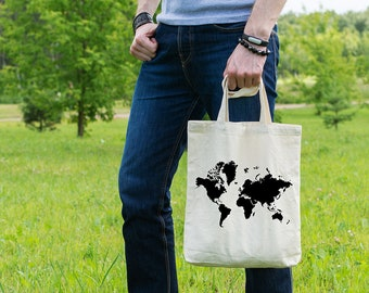 World map tote bag etsy world map shopping bag gift for her ethical tote bag cotton tote gumiabroncs Images
