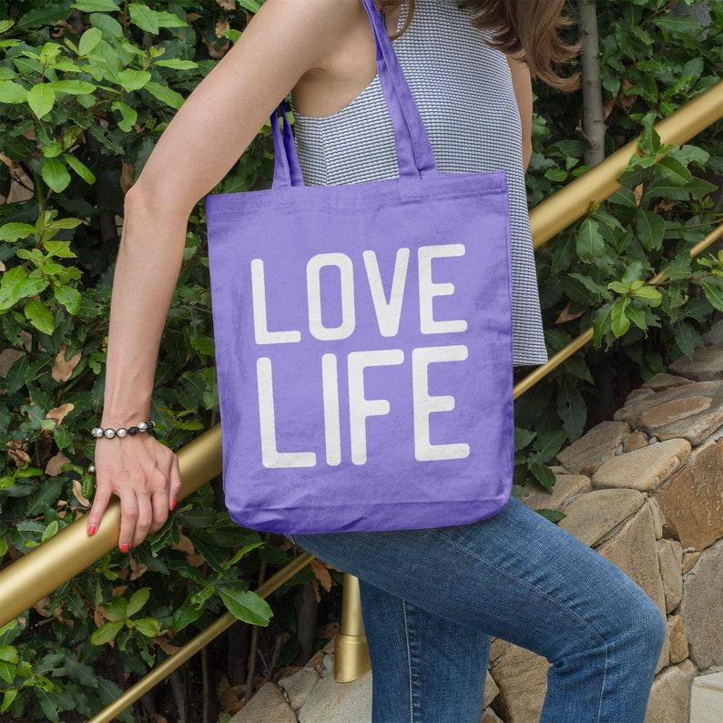 Love Life Market Bag Beach Tote Motivational Quote Inspirational Gift Tote Bag Grocery Bag Shopping Bag Reusable Bag Organic Cotton
