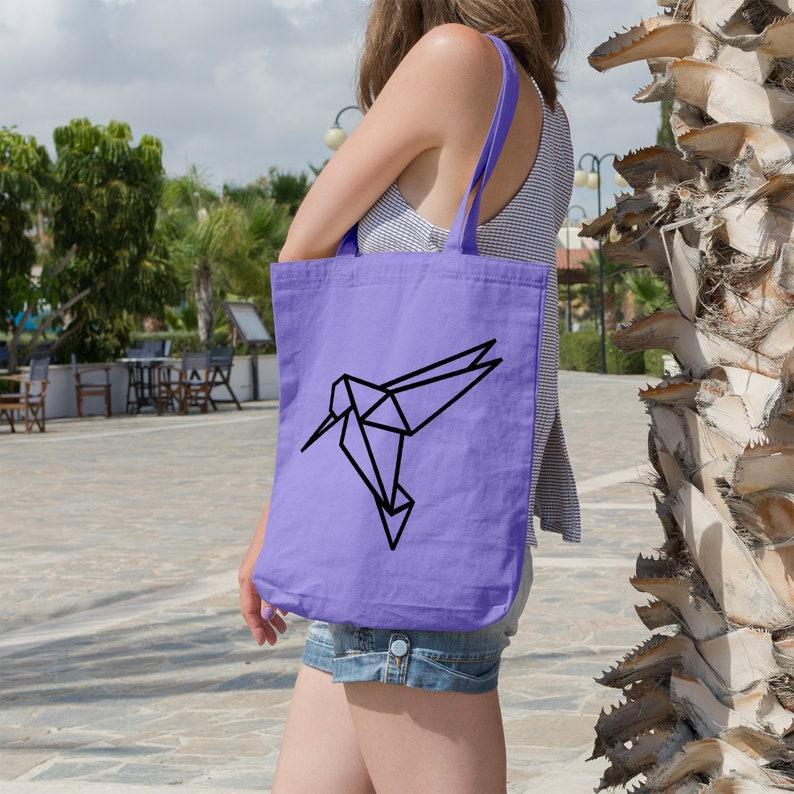 Organic Cotton Beach Tote Tote Bag Grocery Bag Geometric Hummingbird Polygon Animal Market Bag Gift Idea Reusable Bag Shopping Bag
