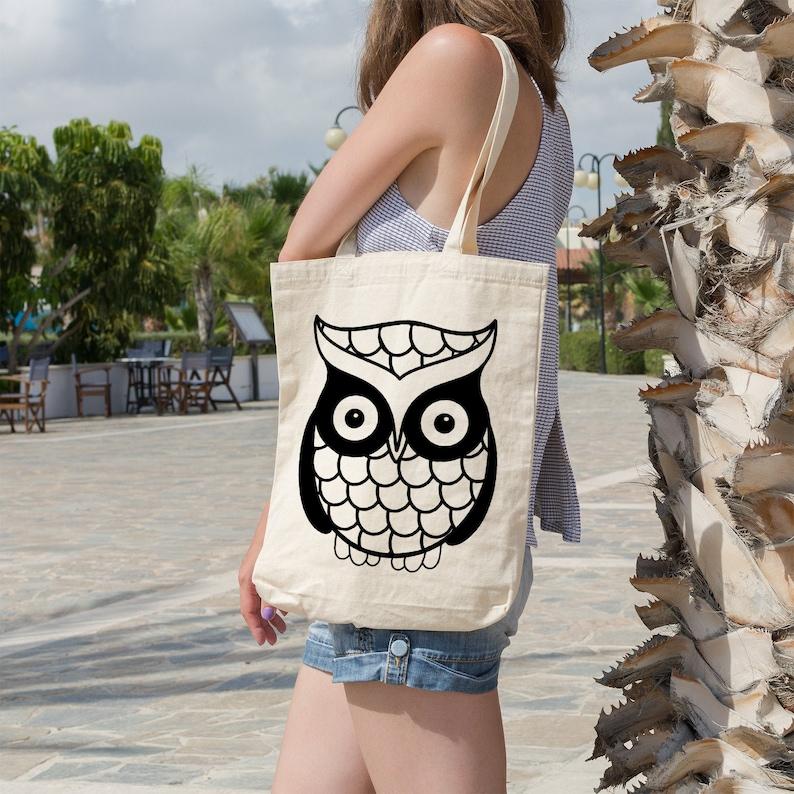 Tote Bag Reusable Bag Market Bag Grocery Bag Shopping Bag Cute Owl Organic Cotton Owl Lover Book Bag Beach Tote Gift Idea