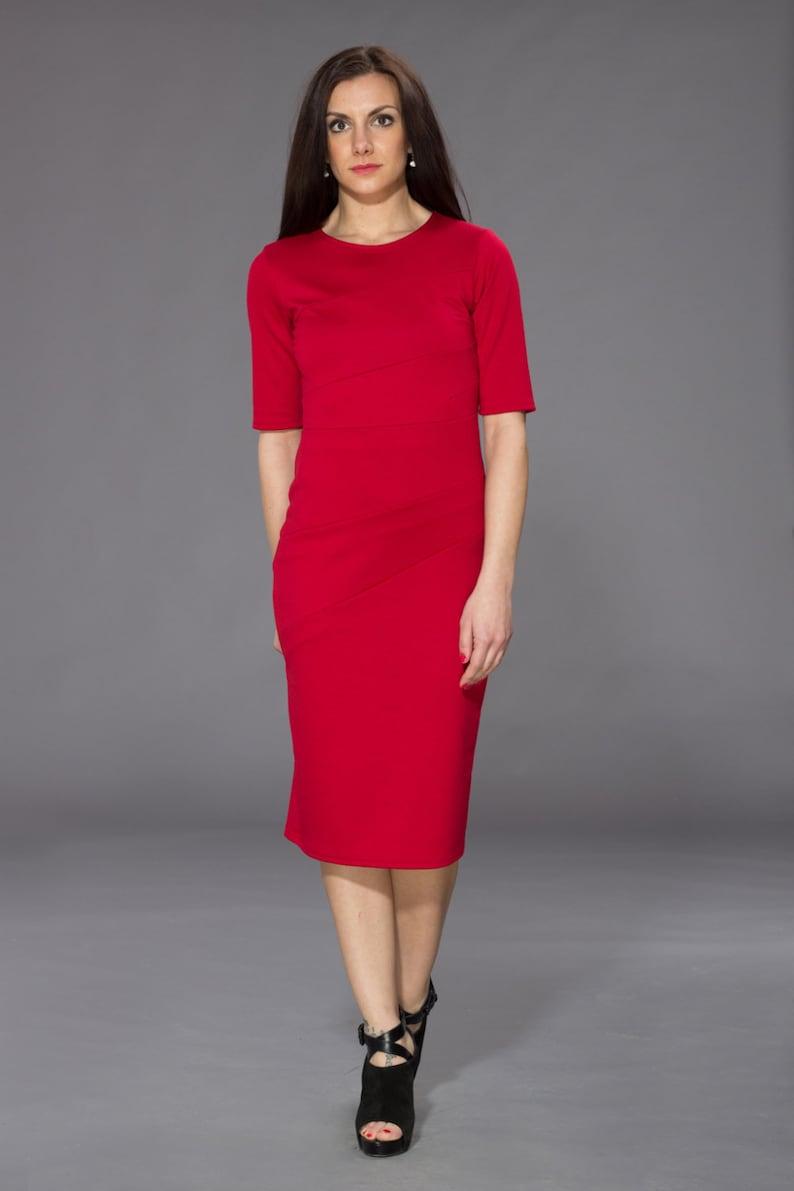 d01fd3e652b8 Vestito rosso vestito della donna Midi rosso abito abito