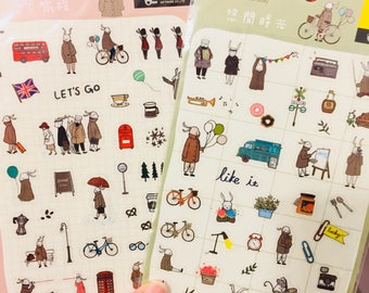 Rabbit Taiwanese Sticker Sheet Pink and Olive Stationery