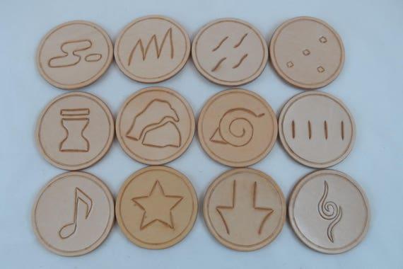 Handmade Leather Coaster Naruto Village Symbols Leather Etsy