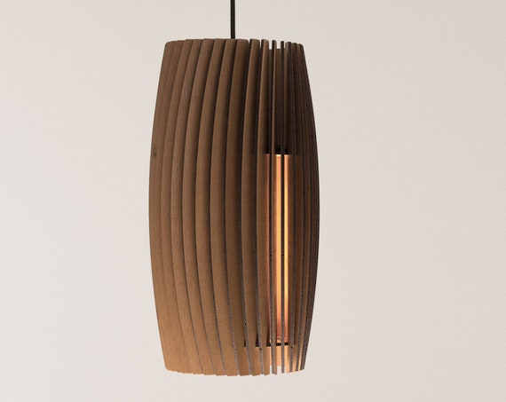 Wood Pendant Light - Modern Chandelier Lighting - Hanging Dining Lamp - Ceiling Light Fixture - Geometric Lamp - Minimal - Contemporary