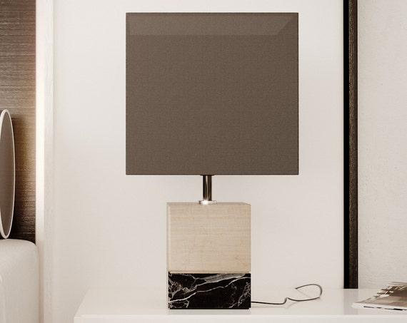 Table lamp wood marble Handmade minimal modern design industrial