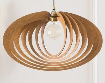 Wood Pendant Light | Ceiling Light Fixture | Hanging Lamp | Wood Light Fixture | Mid Century Modern Chandelier | Wooden Lampshade | Dezaart