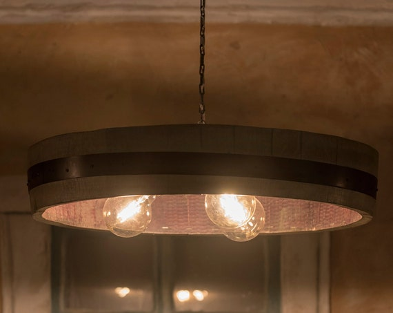 Ceiling lamp in a wine barrel with 3 bulbs, pendant light, wooden lamp, edisom bulbs, rustic light,Barrel stave