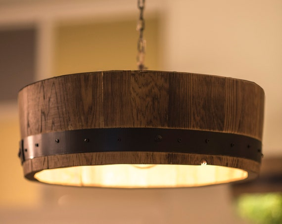 Ceiling lamp in a wine barrel with one bulb, pendant light, wooden lamp, edisom bulb, rustic light,Barrel stave