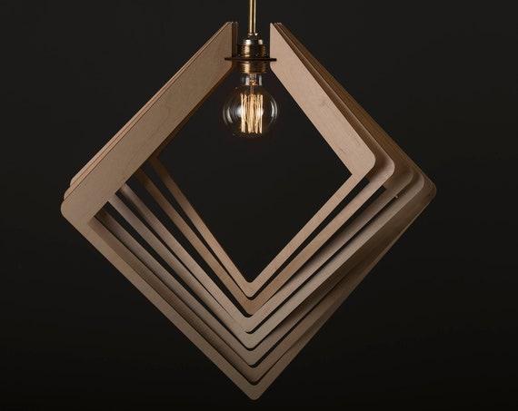 RHOMBUS ORBIT / Wood Lamp / Wooden Lamp Shade / Hanging Lamp / Pendant Light / Decorative Ceiling Lamp / Modern Lamp