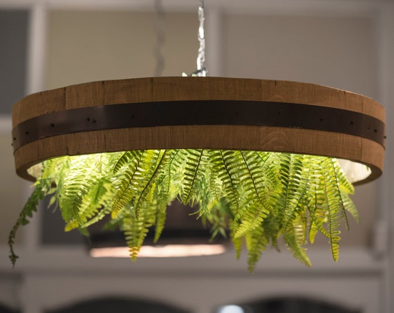 Ceiling lamp in a wine barrel with led strip, pendant light, wooden lamp, rustic light,Barrel stave
