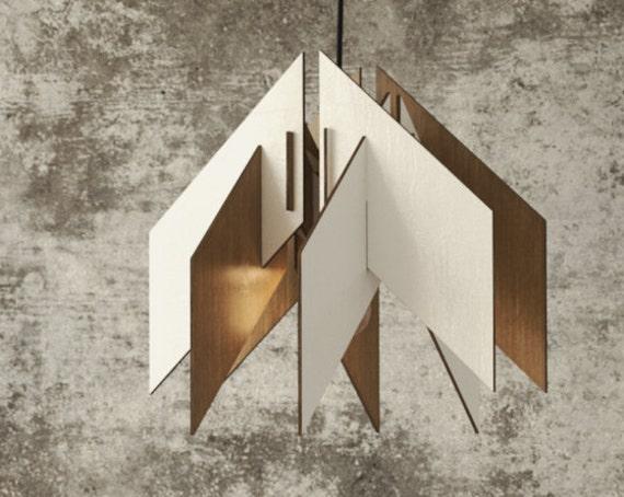 wood Pendant Light lasercut Chandelier lamp Handmade plywood hanging ceiling cup ecological minimal modern design industrial