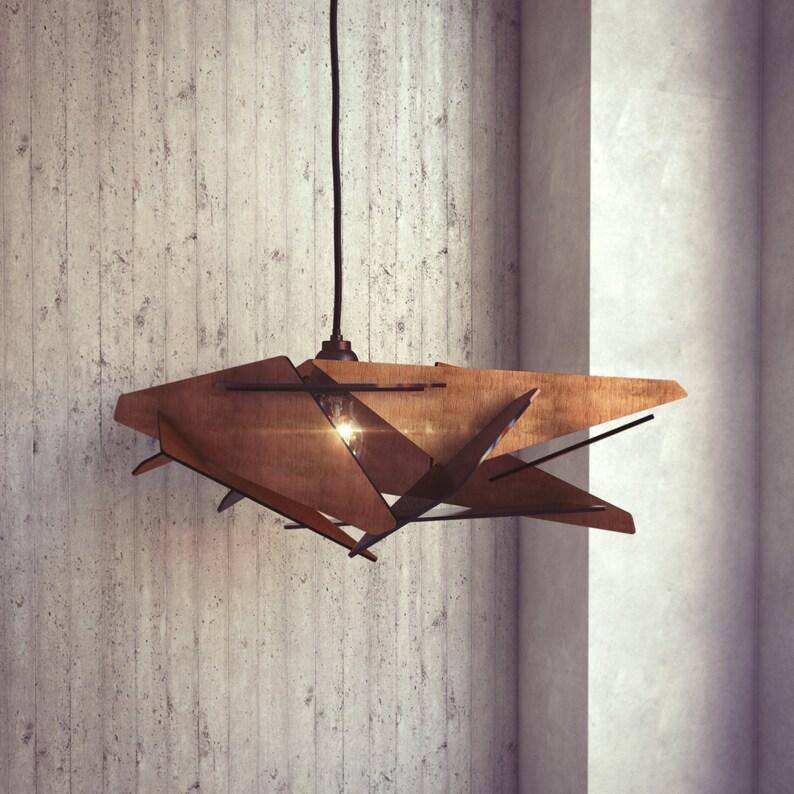 Wood Pendant Light  Modern Chandelier Lighting  Hanging image 0