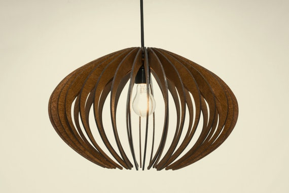 wood Pendant Light lasercut Chandelier lamp Handmade plywood hanging ceiling cup ecological minimal modern design industrial