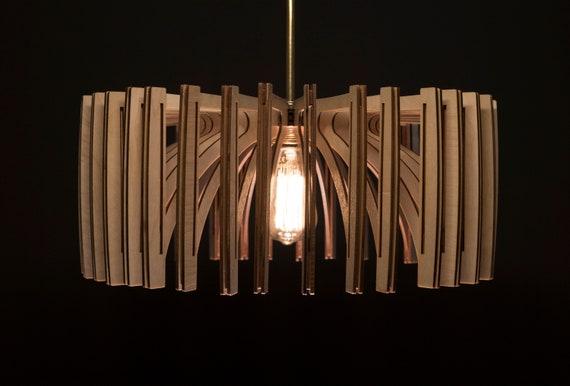 Fat Umbrella / Wood Lamp / Wooden Lamp Shade / Hanging Lamp / Pendant Light / Decorative Ceiling Lamp / Modern Lamp