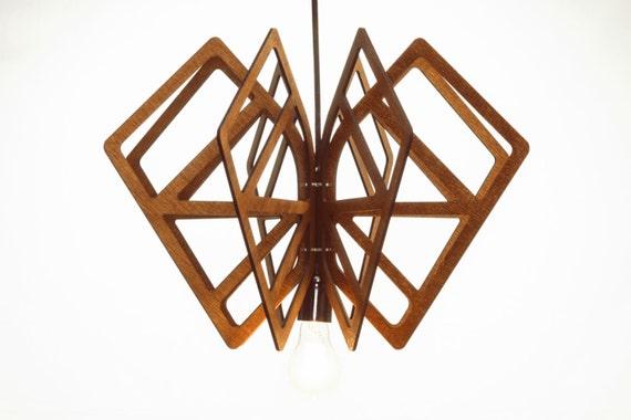 DIAMOND wood Pendant Light lasercut Chandelier lamp Handmade plywood hanging ceiling cup ecological minimal modern design industrial