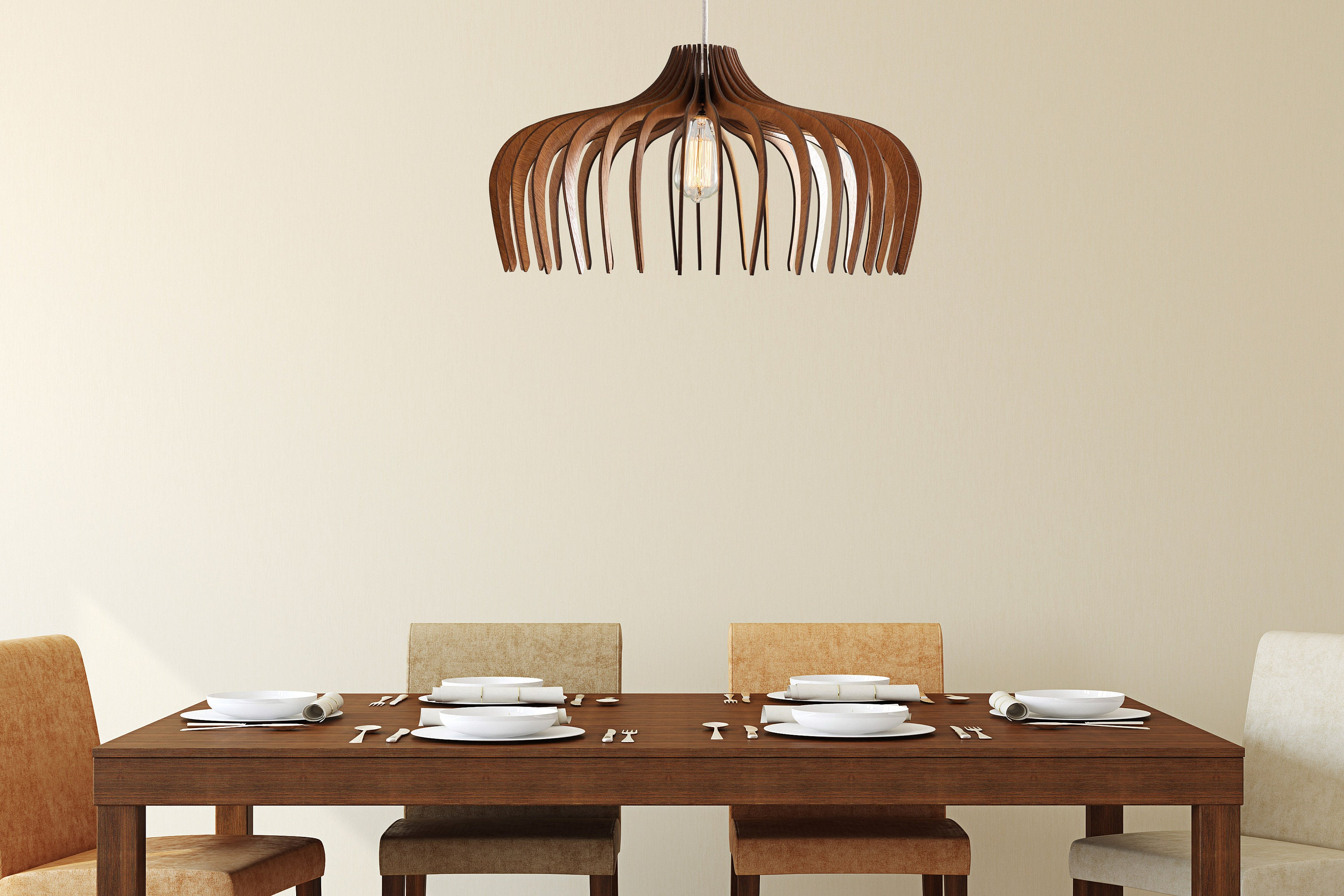 Wood Pendant Light   Modern Chandelier Lighting   Hanging Dining Lamp   Ceiling  Light Fixture   Geometric Lamp   Minimal   Contemporary