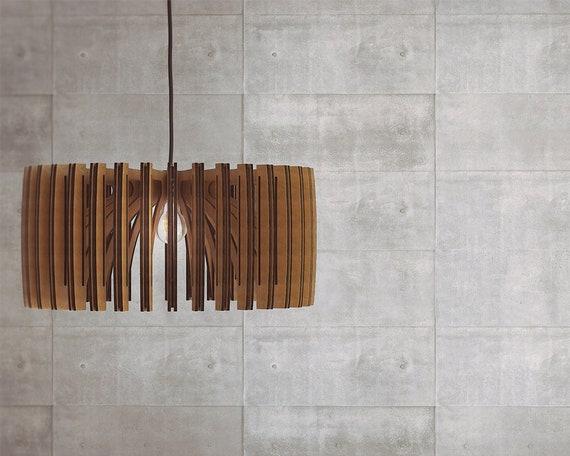 Ciondolo in legno luce lampadario moderno illuminazione etsy