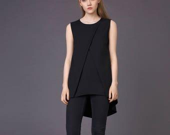 Black Elegant blouse /Asymmetrical shirt / Black blouse / Asymmetric top / Minimalist top / Sleeveless top / Black classic shirt