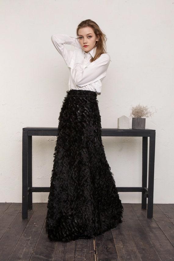 Jupe Taille Haute Maxi Jupe Noire Longue Jupe Du Soir Etsy