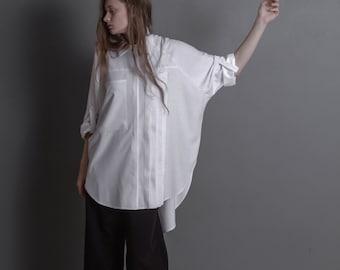 Silk blouse / Plus size clothing / Blouse / Shirt / Silk / Tunic / Shirt dress / Formal dress / Maternity / White blouse / Shirt dress