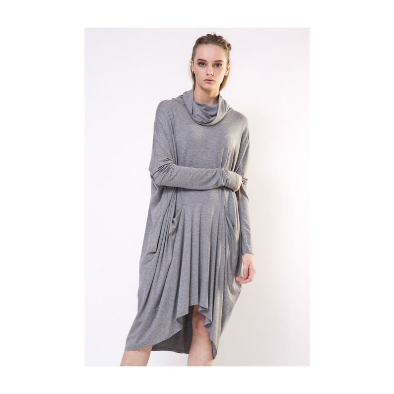 c80963f548c6 Grey turtleneck dress Grey jersey dress Grey maternity | Etsy