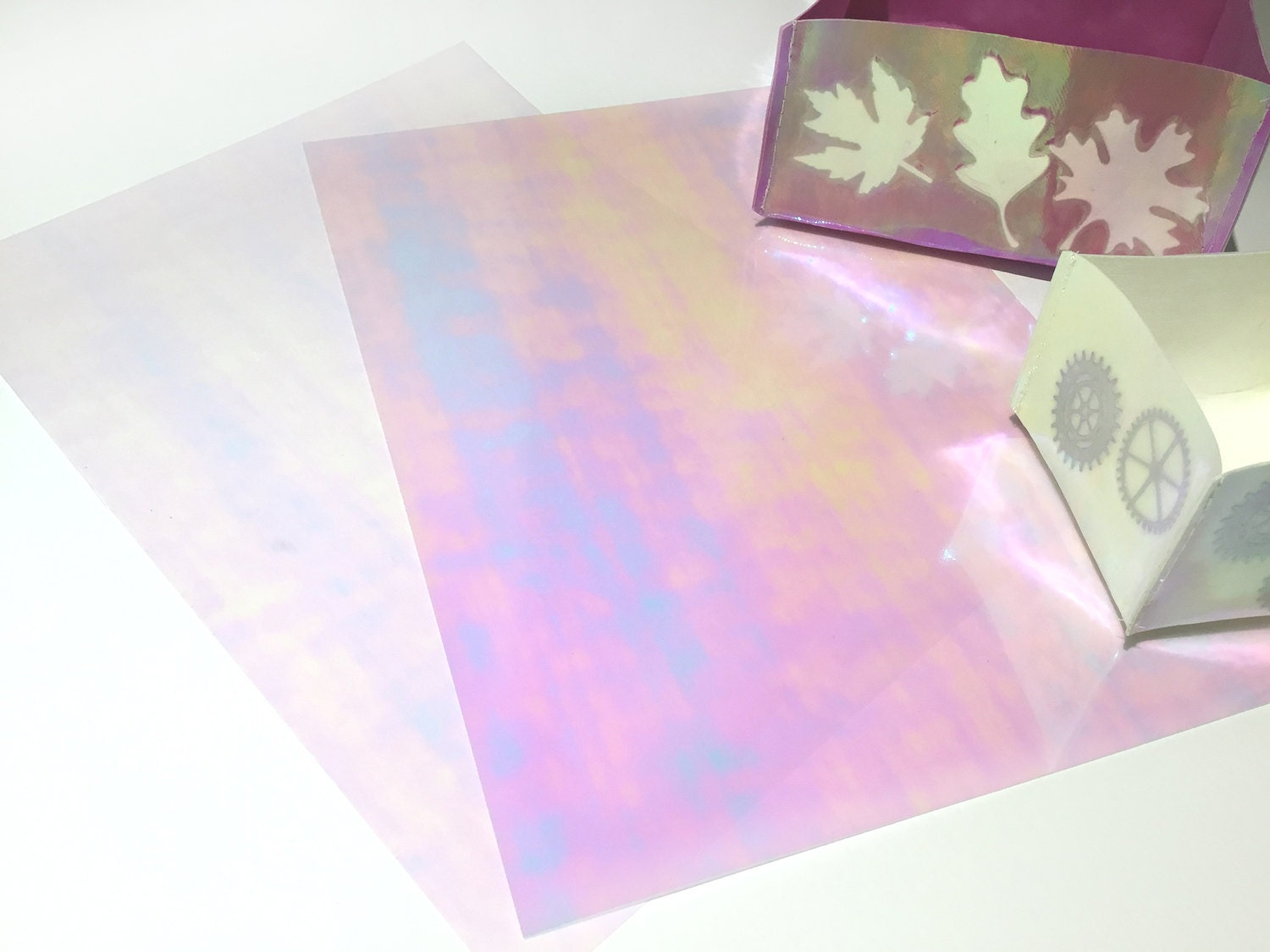 2 sheets of iridescent transparent heat transfer film to | Etsy