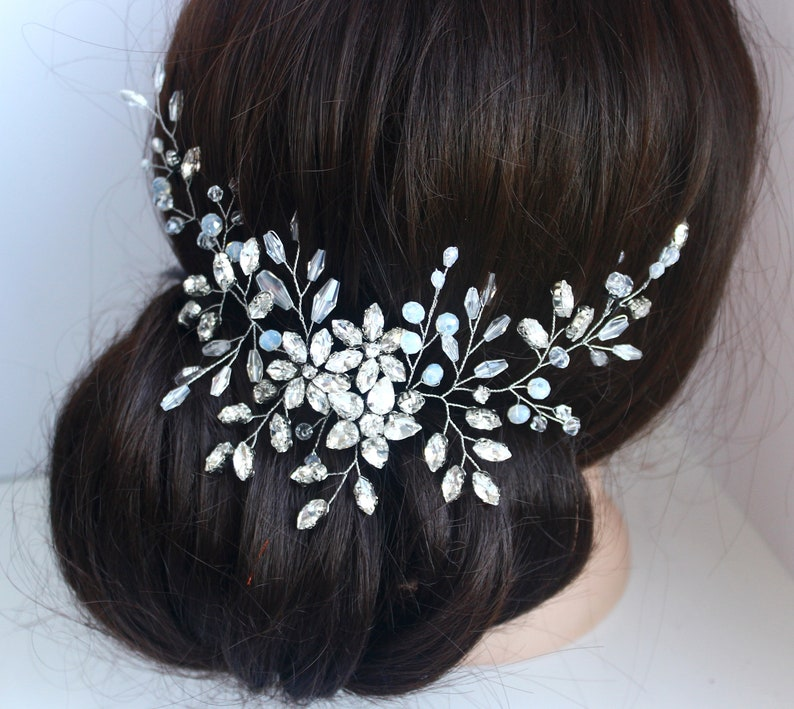 Crystal Tiara Bridal Hair Vine Wedding Hairpiece Crystal Hair Piece Headband for bride Crystal Hair Vine Crystal Bridal Headpiece