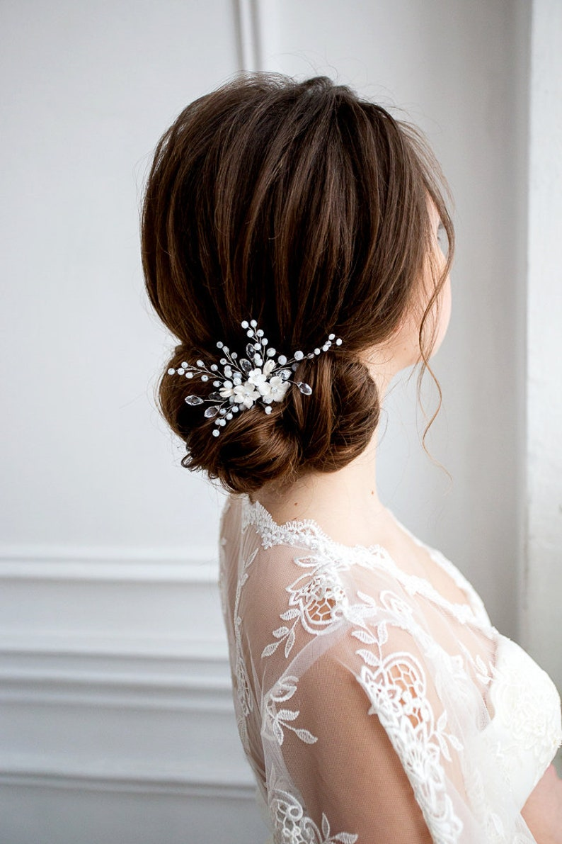 Flower Headpiece Crystal Hair Comb White Floral Jewelry Wedding Hair Piece Bridesmade Hair Bridal Flower Comb Flower Hair Comb