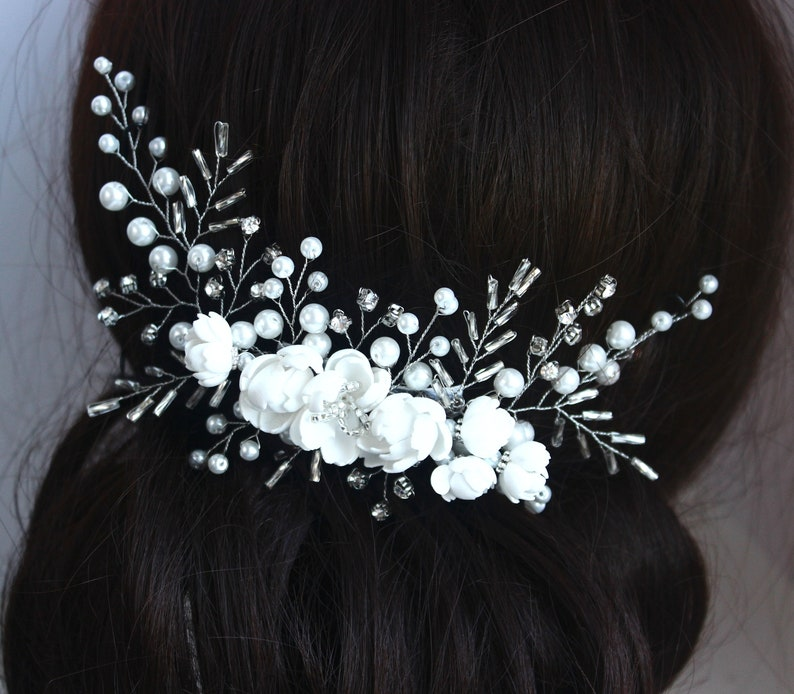 Bridal Comb Flower Hair Comb Bridal Headpiece Crystal Hair Comb Floral Pearl Bridesmaid Hair Vine Bridal Headband Bridal Hair piece