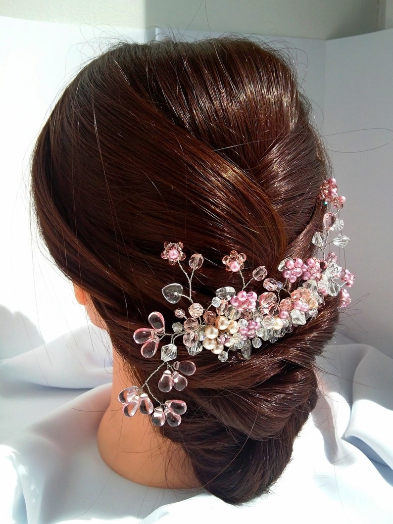 Bridal Flower Vine Exclusive Headband Hair Piece for Bride Bridal Rose Headpiece Hair Pink Comb Wedding Crystal Comb Bridal Floral Comb