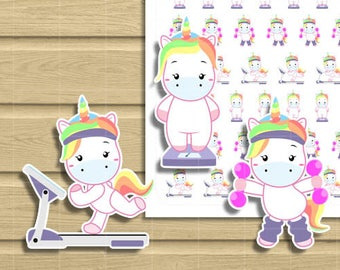 Unicorn Weight Loss, Treadmill running workout and fitness Printable Planner Stickers. Use it with your Happy Planner, midori travellers etc
