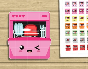 Kawaii Dishwasher Chores Printable planner stickers. Cute but Functional Chores Dish set for your life planner.