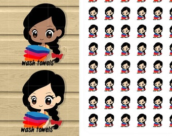 Chic Wash Towels Printable Stickers. Household Chores Print and cut Kawaii stikers for your life planner.