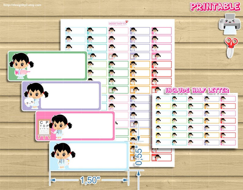 Chibi doctors printable planner stickers doctor appointment image 0
