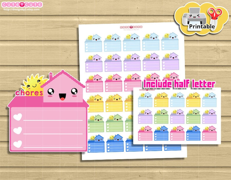 Kawaii Household Chores Printable planner stickers. Cute but image 0