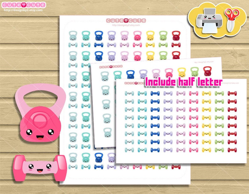 image relating to Printable Kettlebell Workout called Body weight Exercising and kettlebells exercise routine Kawaii Printable Planner Stickers. Physical fitness stickers for your Lifestyle planner.