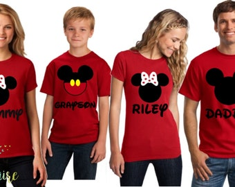 CUSTOM Disney Matching Shirts, Disneyworld Minnie Mouse and Mickey Mouse Matching Family Outfits, Women and Men Disney tshirts