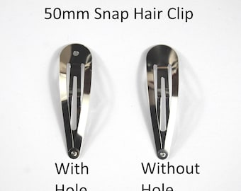 50mm Snap Hair Clip -Choice of WITH or WITHOUT hole-Sleepy Bendies-Styling Hair -Used By Crafters And Jewellery Makers As A Base For Designs