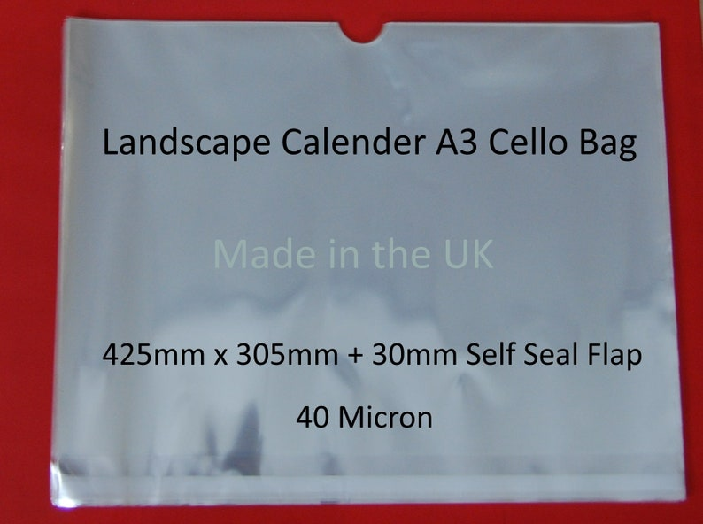 Clear Calendar Cello Bags Cellophane Display Bag for Calenders with Cut Outs