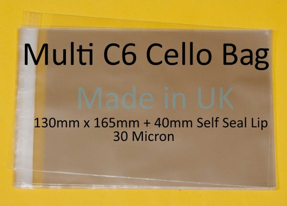 Self Seal C6 A6 Clear Cellophane Display Bags For Print 100 Drawings Art