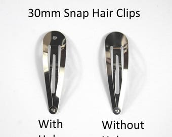 30mm Snap Hair Clip -Choice of WITH or WITHOUT hole-Sleepy Bendies-Styling Hair -Used By Crafters And Jewellery Makers As A Base For Designs