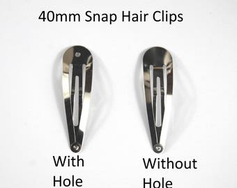 40mm Snap Hair Clip -Choice of WITH or WITHOUT hole-Sleepy Bendies-Styling Hair -Used By Crafters And Jewellery Makers As A Base For Designs