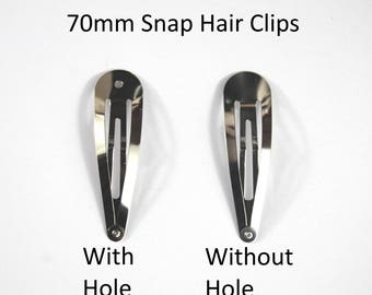 70mm Snap Hair Clip -Choice of WITH or WITHOUT hole-Sleepy Bendies-Styling Hair -Used By Crafters And Jewellery Makers As A Base For Designs