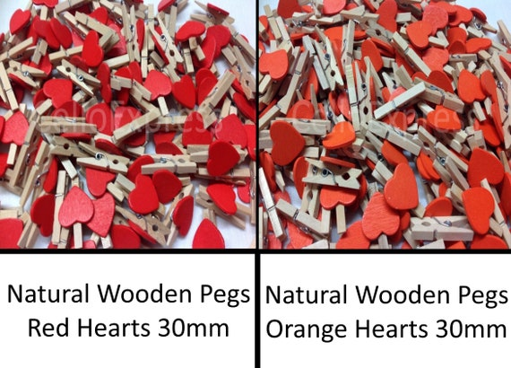 SMALL 30mm WOODEN CRAFT PEGS METAL SPRING RED HEARTS ON WHITE PEGS