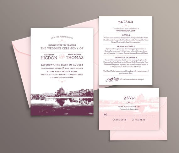 Wedding Invitations Memphis Tn: Memphis Tennessee City Skyline 5-Piece Wedding Invitation