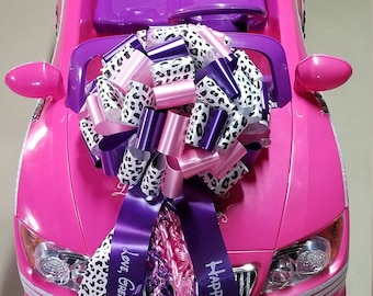 Big Bow for Big Toy Car - Large Gift 14in Bow - YOU choose colors n Print - Made in the USA-Fast Ship!